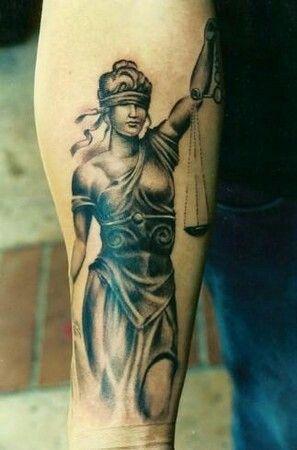 Classic Roman goddess Lady Justice tattoo