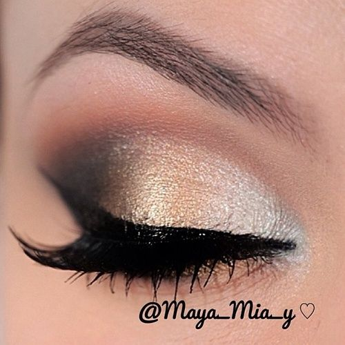 Silver , Golden Smokey Eye Make-up