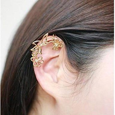 Fashion Hollow Out Flower Multicolor Alloy Ear Cuff(Golden,Silver)(1 Pc) – USD $ 2.99