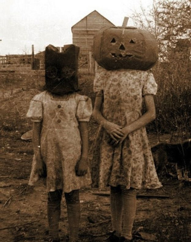 YIKES! The masks alone are giving me heebie-jeebies.   19 Deeply Horrifying Vintage Halloween Costumes