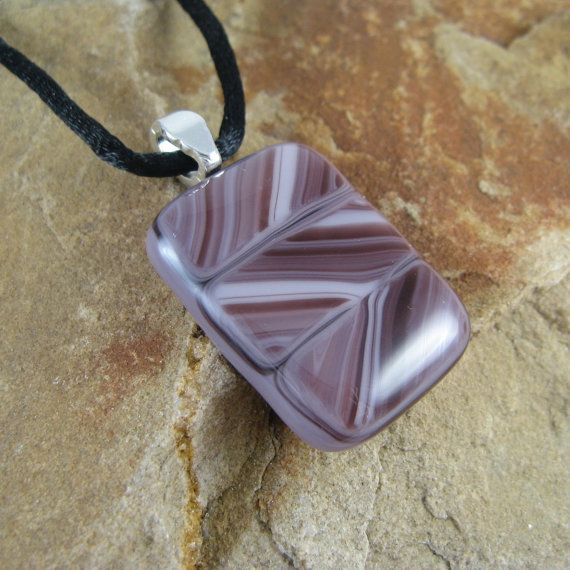 Purple Glass Pendant Necklace with ZigZag Stripes ~ Unique Purple Jewelry by KilnKarma ~~ Click here to BUY this today ~ More great jewelry and gift ideas are for sale on kilnkarma.etsy.com