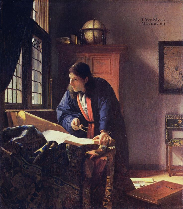 The Geographer. Jan Vermeer. 1668. One of the 36 paintings definitely attributed to him. Located in Frankfurt.