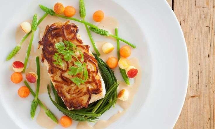Fillet of Alaska halibut with potato crust and cider cream sauce - Great British Chefs Mark Dodson