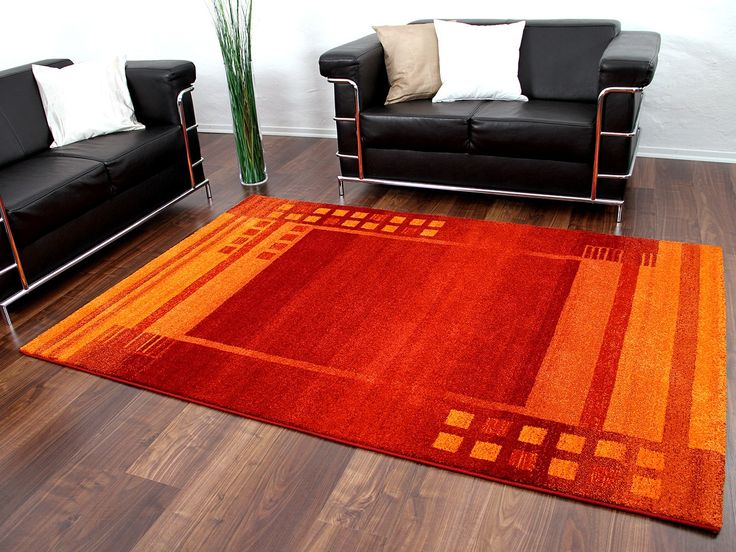 Designer Teppich Gabbeh Rot Orange Bordüre - EINZELSTÜCK Teppiche - teppich f r k che