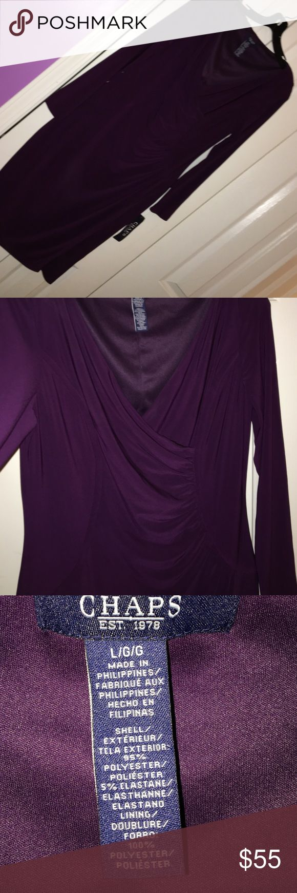 Simply sexy.   NWT .  Chaps dress size large. Beautiful plum color, sexy curve-hugging, eyecarching. Never worn.  Just never had the occasion.  🙁 Chaps Dresses Long Sleeve