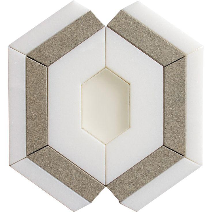 Thassos, Graeae, Pura Honed Aphrodites Marble Waterjet Decos 11x7 1/2 - Country Floors of America LLC.