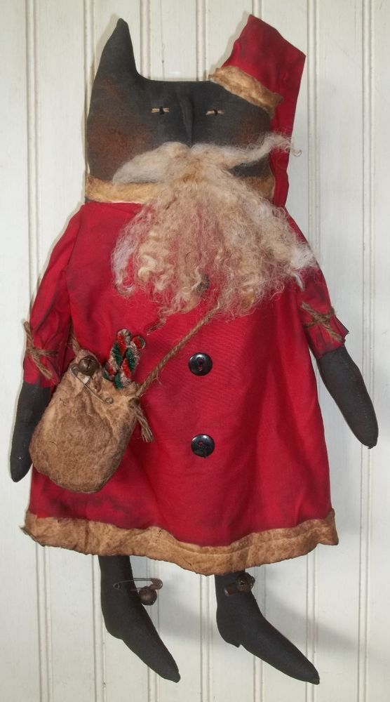 Primitive Grungy Santa Claus Kitty Cat Doll & His Christmas Chenille Candy Canes