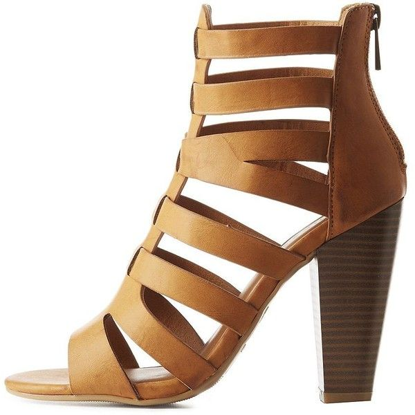 Bamboo Caged Huarache Sandals ($39) ❤ liked on Polyvore featuring shoes, sandals, camel, strappy heeled sandals, padded sandals, strap sandals, zipper sandals and caged heel sandals