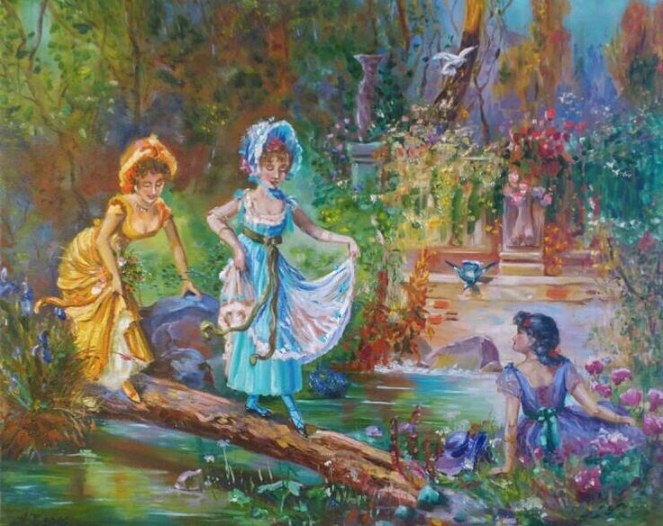 Hanz Zatzka, Crossing the stream. Copy. For sale.                Oil painting. 40*50 cm