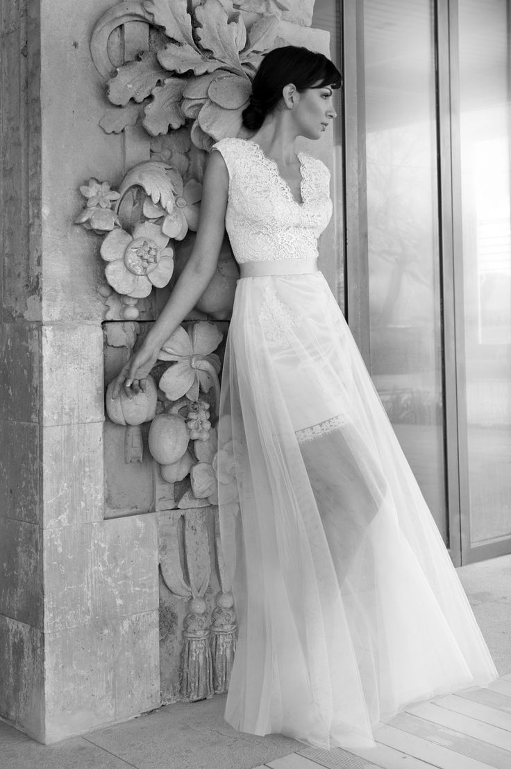 Short-Long wedding dress with Lace by Marianna Kastrinos.