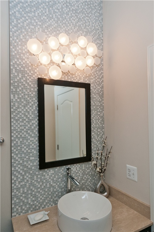 Exquisite Powder Room Tile Accent Wall Installed