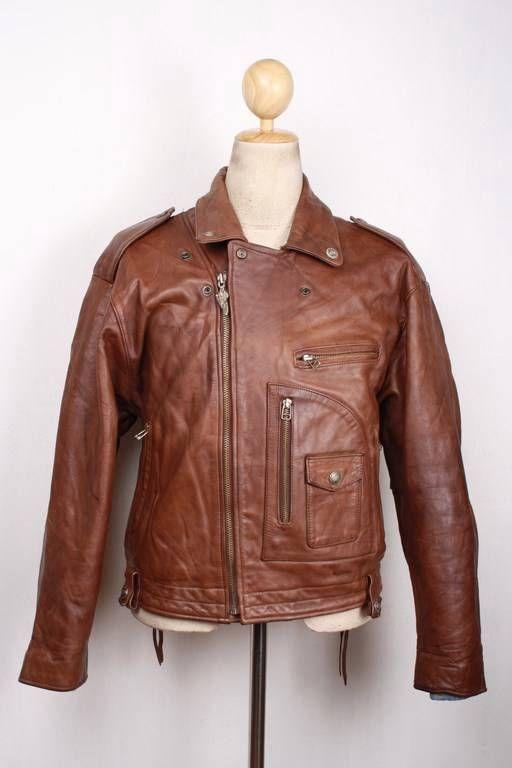 Vtg HARLEY DAVIDSON D-Pocket Brown Leather Motorcycle Police Jacket Large