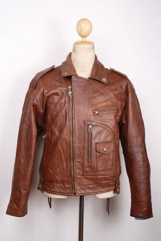 Vtg HARLEY DAVIDSON D-Pocket Brown Leather Motorcycle Police Jacket Large
