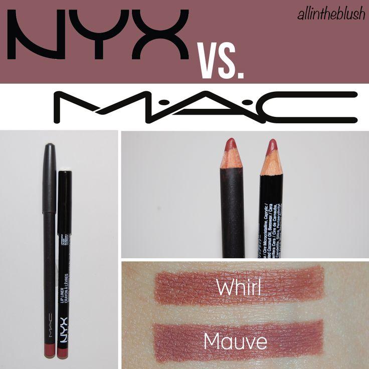 MAC Whirl vs. NYX Mauve Lipliner Dupe