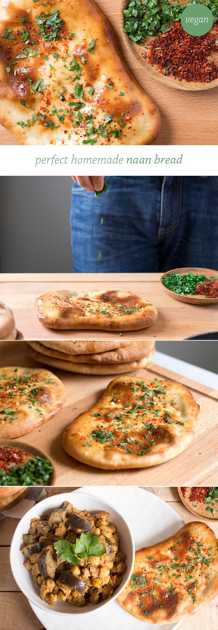 Homemade naan bread topped with garlic-infused oil, chilli, parsley and salt. It goes deliciously well with a good curry and it's vegan. #naan #bread #vegan #recipe #recipes