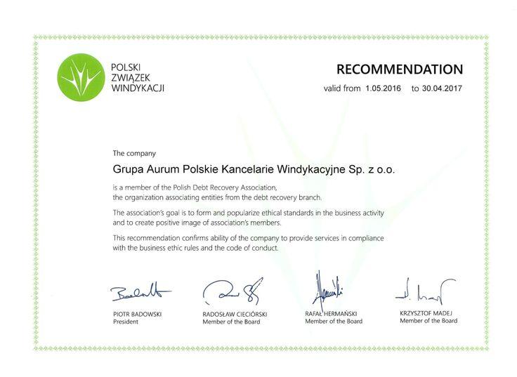 Polski Związek Windykacji Rekomendacja 2