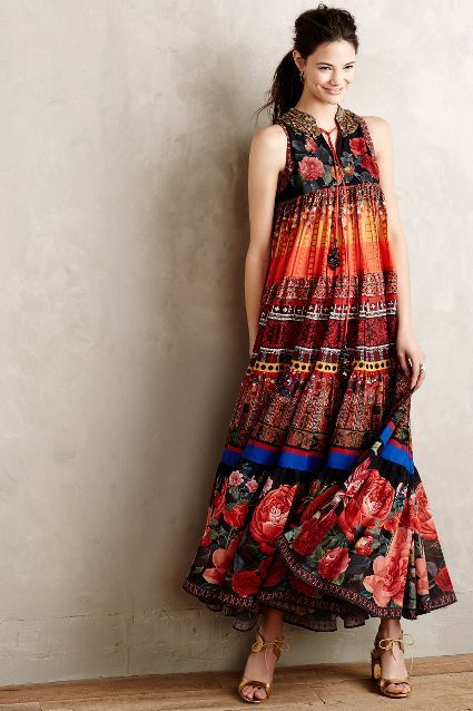 Enak Tiered Maxi Dress #Anthropologie