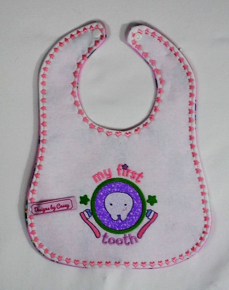 Baby Girl's First Tooth Bib by CandLTreasures on Etsy