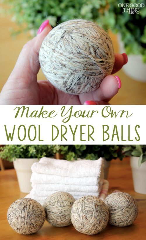 Save energy with wool dryer balls. They reduce the amount of time you need to run your dryer. They also soften your clothes without fabric softener. Jilee of One Good Thing show you how to make your own. || @byjillee