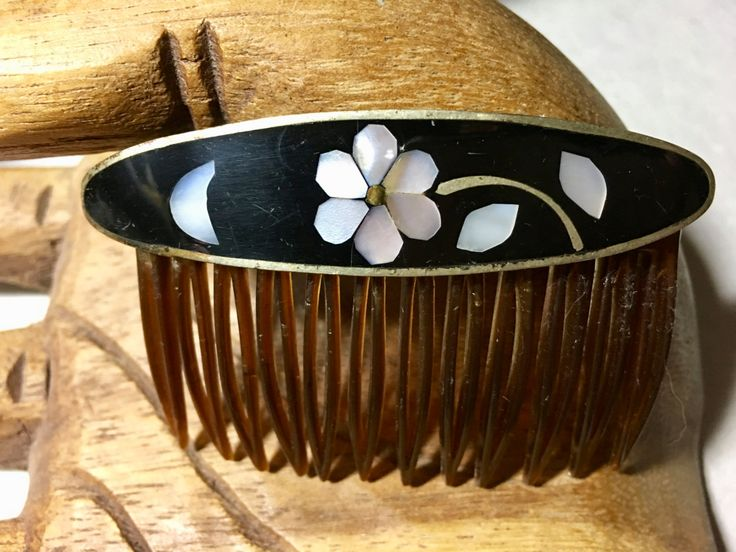 Vintage 1970's Enamel & Mother of Pearl Hair comb - EPSTEAM - Bohemian Chic - Hippie - Decorative Comb - Boho Chic - Wedding - Festival Wear by Scentedlingerie on Etsy