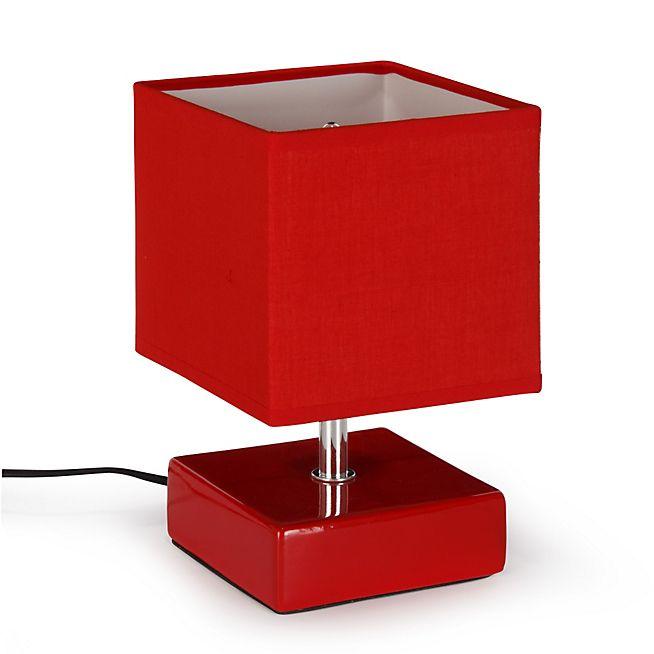 Kare Lampe à poser en céramique avec abat-jour rouge H22cm