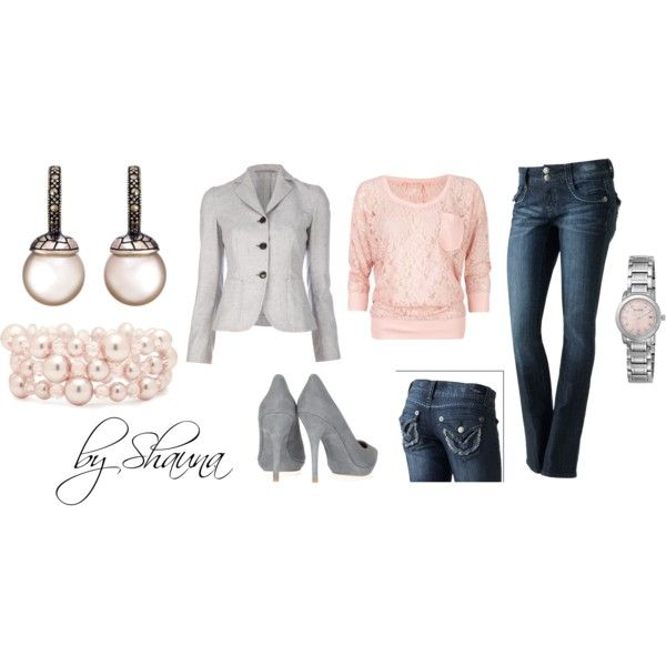"""""""pink and gray"""" by shauna-rogers on Polyvore: Gray Outfits, Day Outfits, Shaunarog, Soft Pink, Brown Eye Girls, Sweet Pink, Blue Eye, Blazers Outfits, Pink And Gray"""