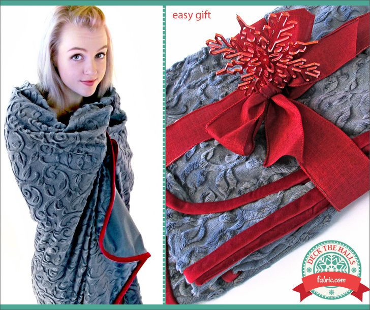 Minky velveteen throw deck the halls with for Space minky fabric