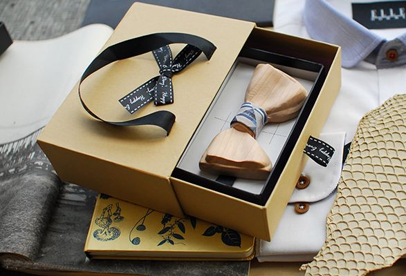 Custom Wooden Bow Tie with Gift Box
