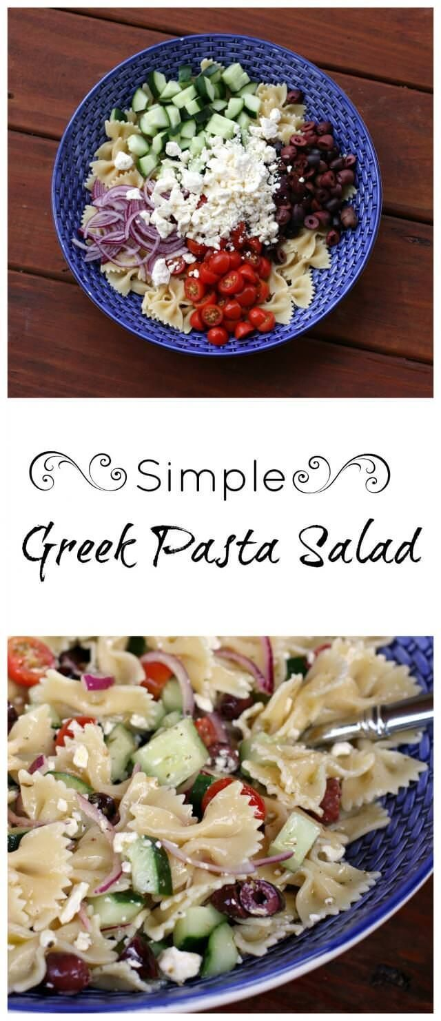 simple greek pasta salad recipe. Perfect for a light spring dinner. This fresh and brightly-flavored Greek salad makes an excellent spring time side dish or a simple main course with the addition of grilled shrimp or chicken.