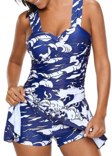 Padded H Back Printed One Piece Swimdress on sale only US$32.42 now, buy cheap Padded H Back Printed One Piece Swimdress at liligal.com
