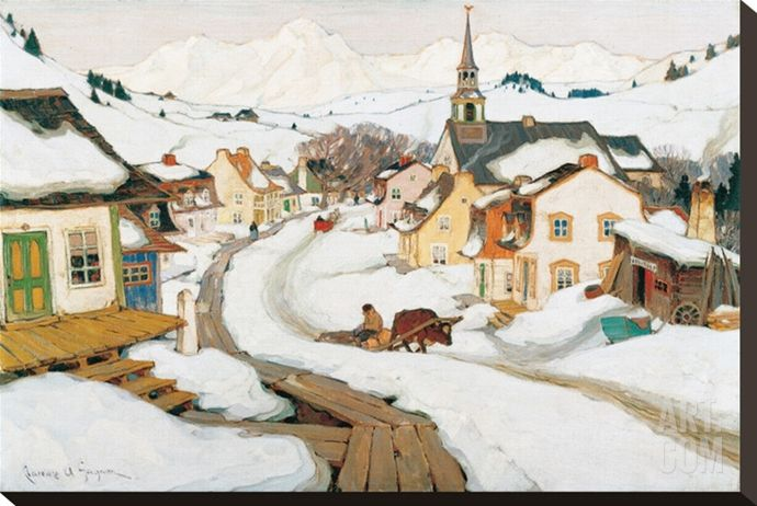 Village in the Laurentians Stretched Canvas Print by Clarence Alphonse Gagnon at Art.com