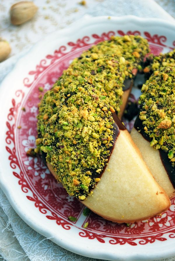 Secretly Spicy Pistachio and Chocolate Dipped Shortbread Cookies ...
