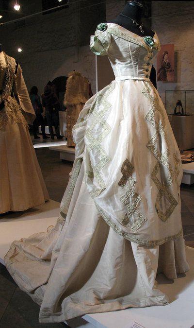 Evening Gown: ca. 1890's. Victorian fashion exhibit, Riga.