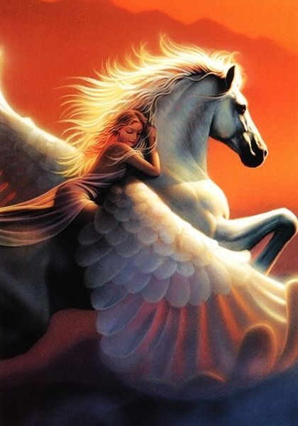 I rode pegasus into the sunset just like this in my past life regression hypnosis session. together we bring about spiritual evolution... at least in hypnosis