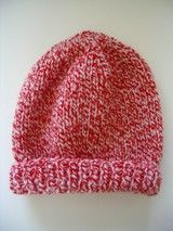 FREE knitting pattern for a family, 8ply, beanie in double yarn.