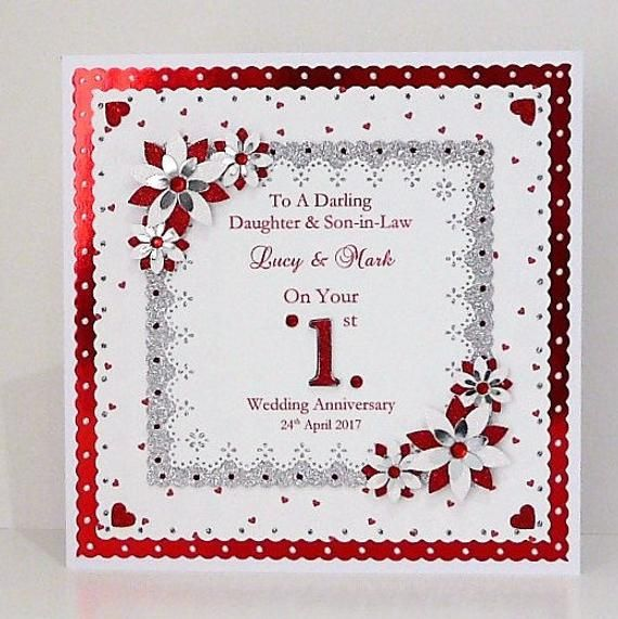 1st First Wedding Anniversary Card For Etsy Wedding Anniversary Cards First Wedding Anniversary Anniversary Cards