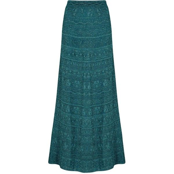 Womens Maxi Skirts M Missoni Teal Metallic Pointelle-knit Maxi Skirt ($555) ❤ liked on Polyvore featuring skirts, m missoni, blue skirt, blue metallic skirt, pull on skirt and long metallic skirt