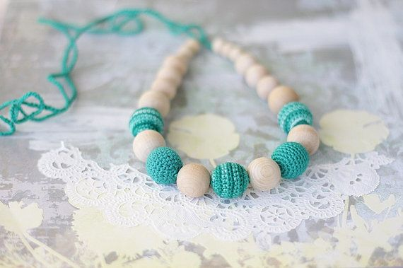 NEW Emerald necklace Boho Eco Nursing Teething by ForeverValues