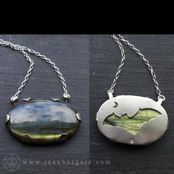 Bat and Moon Labradorite Pendant - Handcut sterling silver and labradorite - Spirit Animal Series