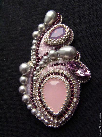 "Брошь кулон с розовым кварцем ""Розовые сны"" - бледно-розовый,брошь,кулон"