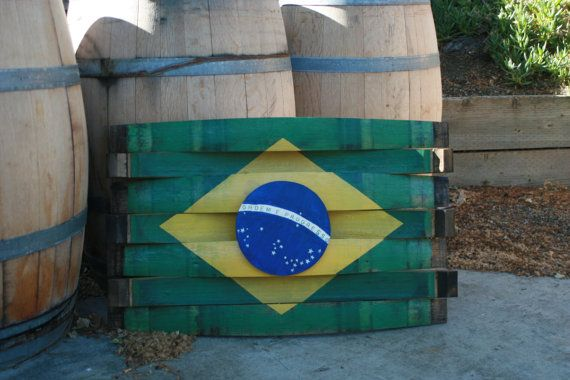 Handcrafted Wine Barrel Brazil Flag by Martellas on Etsy, $200.00
