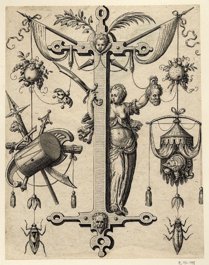 Nova Alphati effictio; Johann Theodor de Bry (Print made by); I (i); letter of the alphabet with Judith holding up the head of Holofernes