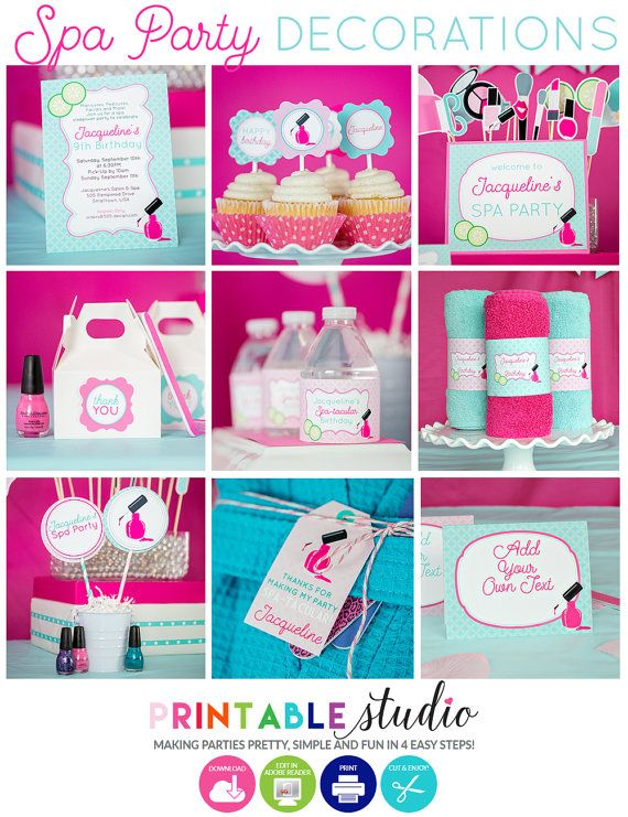 Spa Party Decorations - Instant Download Spa Birthday Party - Printable Spa Birthday Party - Pink Spa Party Decorations by Printable Studio