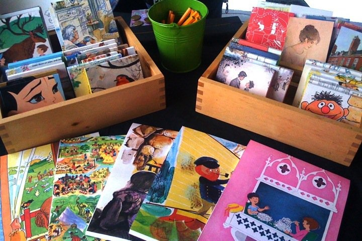 Vintage storybook notepads on the market stall by Little Bird