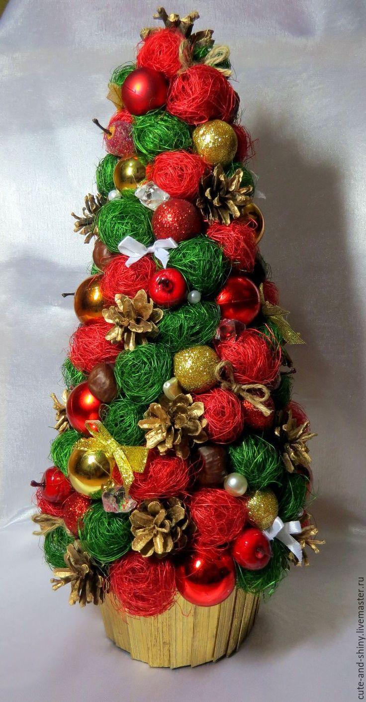 """Купить Новогодняя елочка """"Радость"""" - ярко-красный, красный, Новый Год, елка, елочка, сизаль"""