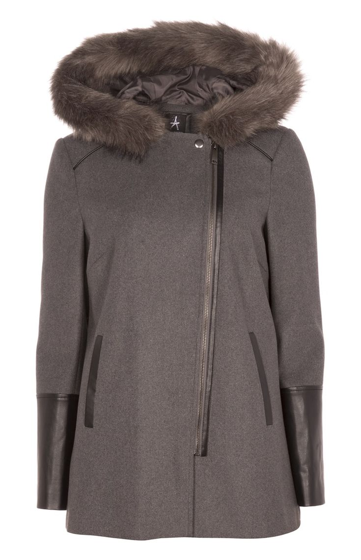 Primark - Grey Biker Faux Fur Trim Coat