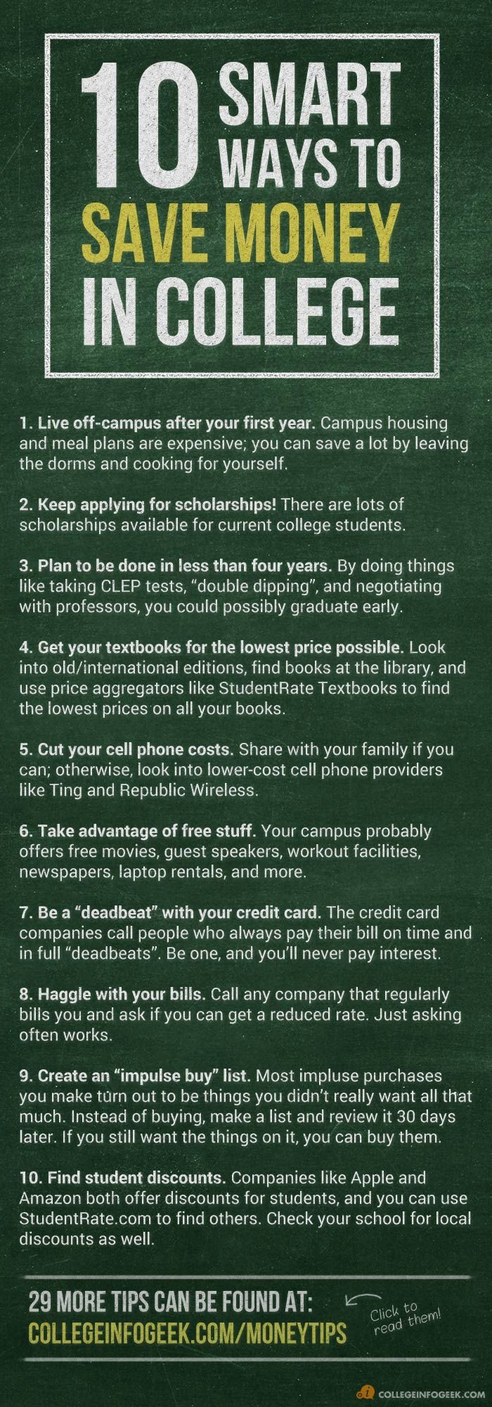 A list of 10 great ways to cut the cost of #college! 29 more in the blog post.- the last couple are most helpful