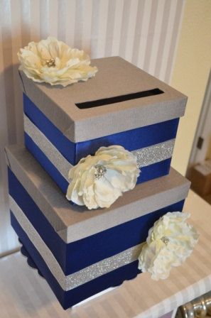 Wedding Card boxThe Sabrina Navy Grey and by ForeverLoveNotes, $90.00