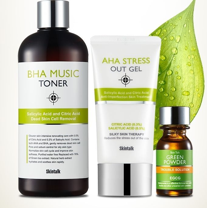 [Skintalk] Green T Kit (toner220ml+ Gel70ml+ powder16ml) Big Discount  #skintalk