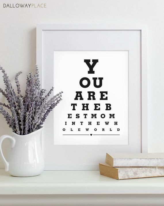 Mothers Day Gift For Mom Art Print Eye Chart Quote Typography Poster Wall Decor